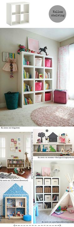 Different ways to use the Kallax / Expedit shelving from Ikea inspiration for a kids' bedroom
