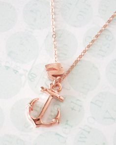 Personalised Anchor Necklace, letter and initial necklace, rose gold anchor, you are my anchor, simple jewelry, bridal shower gifts, bridesmaid necklace, nautical gifts, mentor, best friends, www.glitzandlove.com