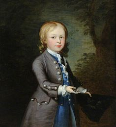 """Boy with Birds in a Tricorn Hat"", style of Thomas Hudson, ca. 1750; NT 866463"