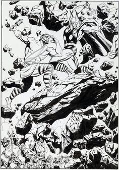 Original splash page by John Buscema from Thor Annual #5, published by Marvel Comics, November 1976.  tumblr_nix6unTLC11rhjbado1_540.jpg (540×772)