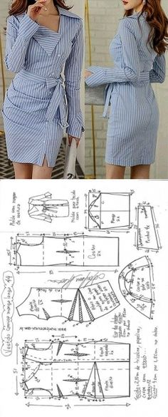 Vestido camisa com manga drapeado Diy Clothing, Sewing Clothes, Clothing Patterns, Dress Patterns, Barbie Clothes, Fashion Sewing, Diy Fashion, Fashion Outfits, Robe Diy