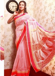 Captivating Off White & Pale Pink Color #Silk & Net Based Printrd #Saree #clothing #fashion #womenwear #womenapparel #ethnicwear