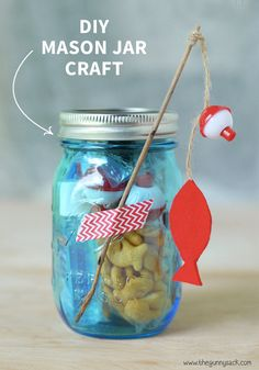Whether You Need A Cute And Practical Snack Idea For Family Fishing Trip Or Simply In Of Festive Party Favor This DIY Mason Jar Craft