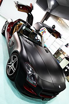 Black and Red Mercedes Benz SLS AMG