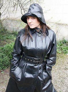 Black Rubber Raincoat & Hat