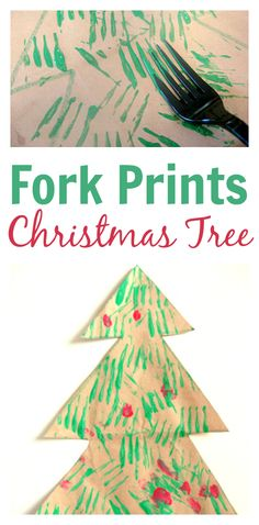 Use forks to paint a Christmas tree!