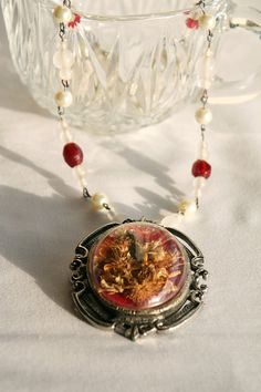 Dried Flower Pendant Beaded Necklace by dixieheartless on Etsy, $30.00
