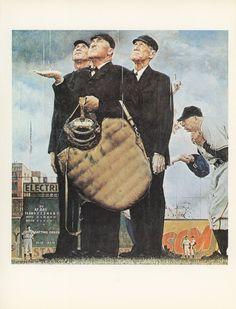 Norman Rockwell juego de béisbol llamado debido a por KingPaper, $10.00