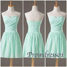 #promdress01 prom dresses - cute sweetheart strapless green chiffon short prom dress, bridesmaid dress #coniefox #2016prom More