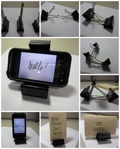 How to easily make your best smart phone holder with three binder clips and your mobile phone step by step DIY tutorial | http://phonereviewsblog.blogspot.com