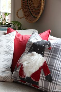 Please Come Home for Christmas Home Tour - Kelly Elko Felt Christmas Decorations, Christmas Ornament Crafts, Christmas Mantels, Christmas Sewing, Christmas Gnome, Christmas Pillow, Christmas Cushions To Make, Homemade Pillows, Scraps Quilt