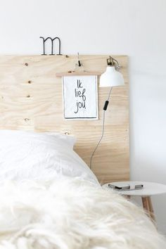 Do away with bedstead, get divan(shorter), and fix ply headboard to wall? Diy Wooden Headboard With Lights Painted Bed Frames, Painted Beds, Home Bedroom, Bedroom Decor, Nordic Bedroom, Bedroom Ideas, Master Bedroom, Bedrooms, Diy Bett