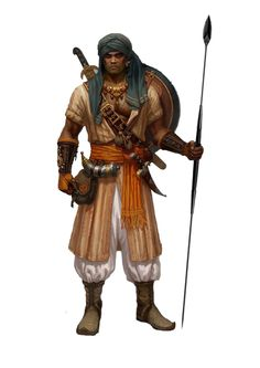 character concept male human tribal spear 2handed sword nomad oriental wield fighter warrior realistic unmagical pygme