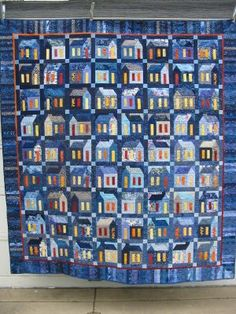 Blue Village by Martina Bogen Quilts (Germany) ~ Incredible house quilt! <3
