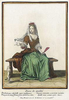 Recueil des modes de la cour de France, 'Dame de Qualité' (Lady of Rank) Henri Bonnart 1682-1685