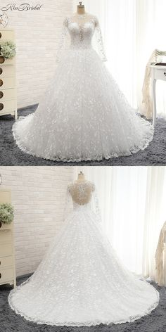 New Design Long Wedding Dress 2017 V-Neck Long Sleeves Chapel Train Ball Gown Flowers Tulle Bride Dresses 2016 Robe de mariee Beautiful Wedding Gowns, Long Wedding Dresses, Bride Dresses, Wedding Flavors, Fairytale Gown, Wedding Rings Rose Gold, Dresses 2016, Chapel Train, Marie