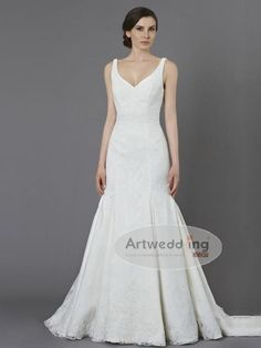 Trending Ruffled and Pleated V Neckline Lace over Satin Trumpet Wedding Gown
