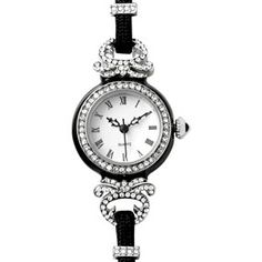 French Evening Watch - Our French Evening Watch's classic design is based on a nineteenth-century French timepiece delicately inset with a diamond border, crown, and a decorative loop. Roman numerals are used to designate the hours.
