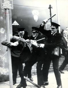 Banned Derry Civil Rights march broken up by RUC batons in presence of Gerry Fitt MP, three British Labour MPs and television crew. Two nights of rioting ensued. 5/10/1968.