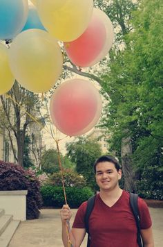 """Seventy-three percent of people are in a better mood after seeing balloons, and 80% of people are in a better mood after seeing someone else who's smiling, so I'm just going around trying to make people have a better day."" --Nick Wheeler, psychology student.  http://www.payscale.com/research/US/School=University_of_Georgia_(UGA)/Salary/"