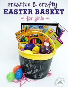12 Cheap Easter Basket Ideas for Boys and Girls DIY Creative and Easy Easter treats Easter Basket for Creative Girls - Clumsy Crafter Cheap Easter Baskets, Unique Easter Basket Ideas, Diy Ostern, Easter Crafts For Kids, Easter Stuff, Easter Games, Easter Projects, Easter Activities, Art Projects