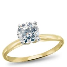 14K Yellow Gold, Diamond Solitaire Engagement Ring, 1.00ctw.