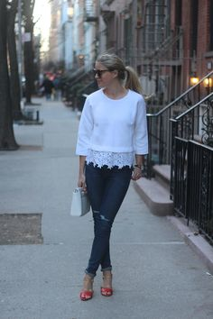 Eyelet Sweater (and the Laney Quarter Strap Heels) | Styled Snapshots