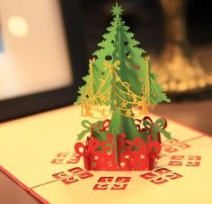Lot of 10 3D Pop Up Holiday Greeting Cards Christmas Tree Card Thanksgiving Card #Unbranded #Christmas
