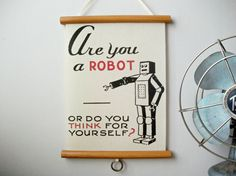 """Mini Printed Fabric Vintage Style School Chart with Wood Trim - Are You A Robot (9"""" x 12"""")"""