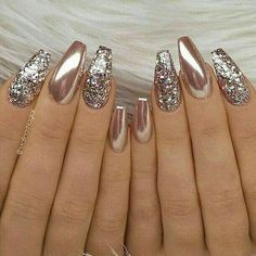 24 Stunning Glitter Nail Art Designs That You Will Love to Try; nail designs designs for short nails step by step best nail stickers nail art sticker stencils full nail stickers Fabulous Nails, Gorgeous Nails, Pretty Nails, Amazing Nails, Perfect Nails, Gold Nail Art, Glitter Nail Art, Gold Chrome Nails, Glitter Nail Designs