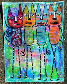 """Tracey Ann Finley Original Outsider Raw Folk Collage Painting 4 Colorful Cats NR """"We Told You To Use The Litter Box Before We Left!"""""""