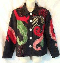 Alex Kim Art To Wear Artsy Asian Dragon Women's Small Black Blazer Jacket Coat #AlexKim #Blazer