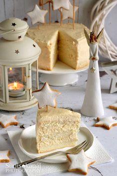 """""""Fehér karácsony"""" torta Torte Cake, Cake Cookies, Essie, Food And Drink, Cooking Recipes, Sugar, Cheese, Baking, Sweet"""
