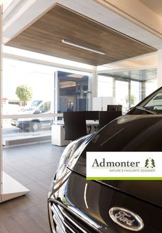 In all sales situations - especially when buying a car - a pleasant atmosphere is essential. Therefore we are very happy to introduce you to the showroom of the Ford Schmidt dealership in Salzburg. In the showroom, Admonter acoustic elements in oak stone were placed above the car models and the meeting table in order to hold the sales pitch in a quiet and discreet atmosphere. In the office is an Admonter oak stone FLOOR | Admonter Meeting Table, Stone Flooring, Salzburg, All Sale, Schmidt, The Office, Pitch, How To Introduce Yourself, Acoustic