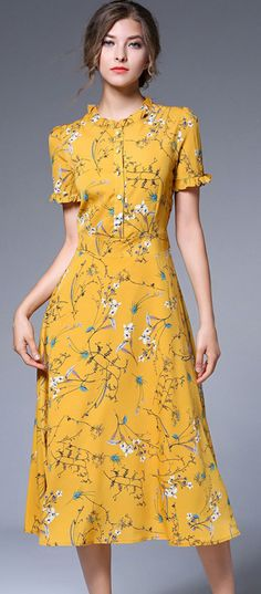 Yellow Chiffon Floral Print Falbala Skater Dress