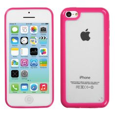 Hybrid Gummy Cover Case for iPhone 5C - Clear/Solid Hot Pink  $5.95   #iphone5ccase, #iphone5ccover, #iphone5c, #hotpinkiphone5ccase