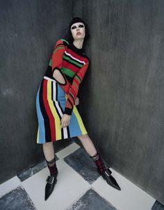 """Check-Mate"" | Model: Edie Campbell, Photographer: Tim Walker, Vogue Italia, December 2015"