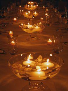 Wedding Decorations Glass Bowls White Floating Candles 2 Inch 24 Candles  Floating Candles