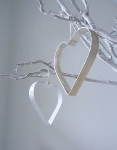 diy paint cheap metal cookie cutters white + attach string + hang for decorations