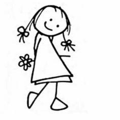 Holzstempel – Mädchen & Blume – 5 x cm Scrapbooking – Artemio – Tampon bois – Fille & fleur – 5 x cm - Drawing Techniques Doodle Drawings, Easy Drawings, Doodle Art, Doodle Kids, Girl Drawings, Art Rupestre, Stick Figure Drawing, Figure Drawings, Wood Stamp