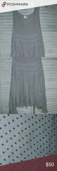 EUC-light grey Free People voile trapeze slip Light grey with plum dots. $44 on M free shipping Free People Dresses Mini