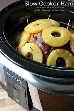 Easy Slow Cooker Ham Recipe (KAB- we actually just dump a whole can of pineapples, no toothpicks required! And no cloves...)