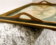 Handled Serving Tray With Victorian Ball by SunburyVintageStore