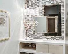 Textured wall    Contemporary Bathroom at Oakwood in West Hollywood by Boswell Construction #buildboswell