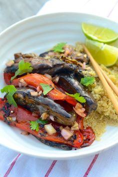 Eggplants, Peppers & Shiitakes with Soy Dressing | Camille Styles