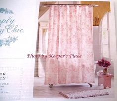 """Brand New from Simply Shabby Chic by Rachel Ashwell ~ Gorgeous """"Pink Floral Toile"""" Shower Curtain www.keepersplace.com"""
