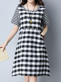 Brand: No Specification: Sleeve Length:Short Sleeve Neckline:O-neck Color:Red,Black Style:Casual,Fashion Length:Knee-length Pattern:Grid Material:Cotton,Linen,Polyester Season:Spring,Summer Package included: 1*Dress