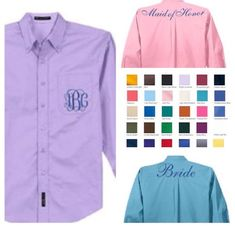 Bridesmaid Button Downs - Bridesmaid Robes - Lavender - Lilac- Blue- Navy - Coral - Pink - Yellow - Black - White - The Applewood Lane