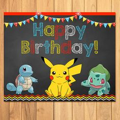 Its a Pokemon Party!  I have for you here a Pokemon Birthday Sign - this item is a printable, digital Pokemon Birthday Sign, which means youll receive a digital file when you order. No physical item will be mailed to you.  The size of the Birthday Sign is 8 x 10 - a great size to print at a photo lab.  This is an instant download, folks, so that means theres no waiting to get your files! Youll be able to have access to these files right after you purchase.  Looking to add that special touch…