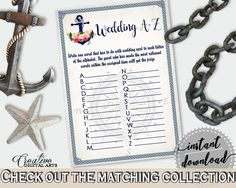 Nautical Anchor Flowers Bridal Shower Wedding A-Z Game in Navy Blue, smart activity, traditional theme, party stuff, party planning - 87BSZ #bridalshower #bride-to-be #bridetobe